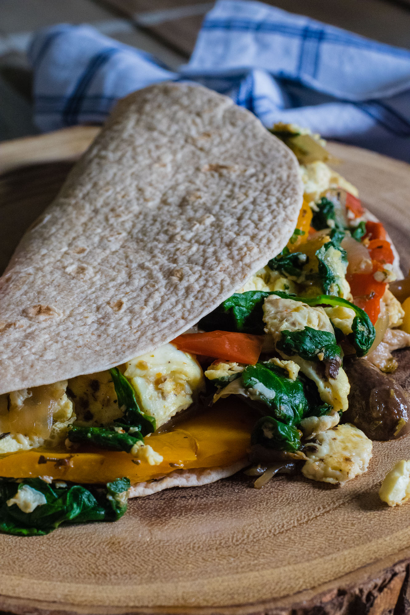 Egg White Spinach Wrap with Sautéed Peppers, Onions and Mushrooms