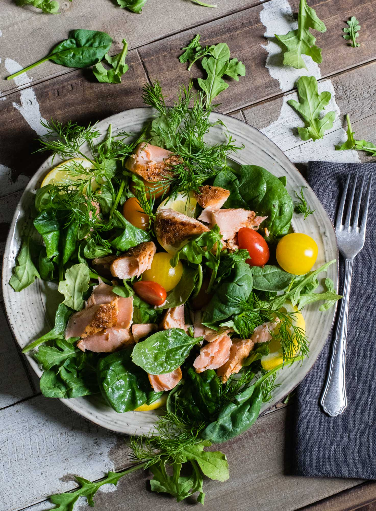 Salmon Mixed Green Salad with Meyer Lemon and Horseradish Vinaigrette