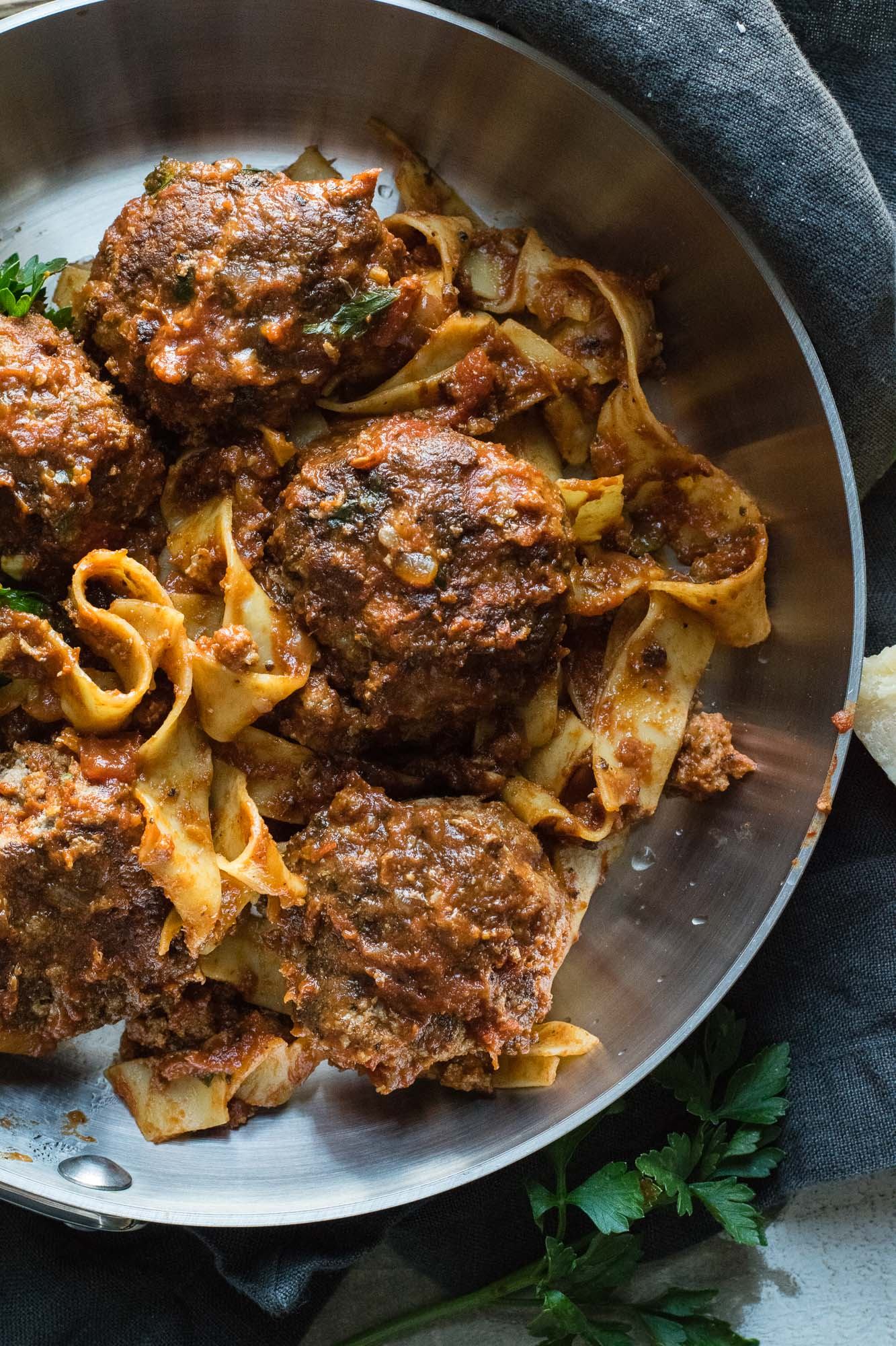Bison Meatballs with Tagliatelle