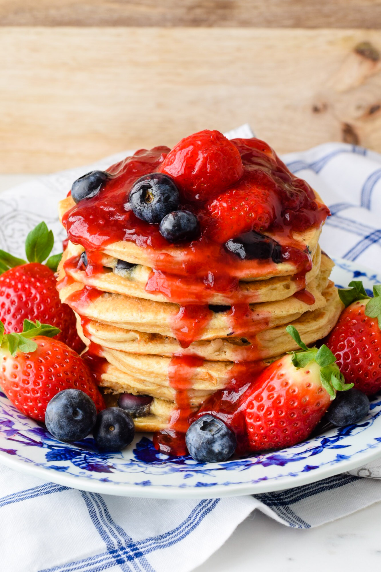 Greek Yogurt and Blueberry Protein Pancakes with Strawberry Sauce